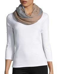 Lord And Taylor Colorblocked Cashmere Scarf Grey Mushroom