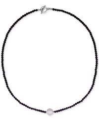 Majorica Sterling Silver Black Bead And Imitation Pearl Collar Necklace