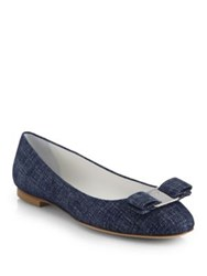 Salvatore Ferragamo Varina Denim Ballet Flats Oxford Blue