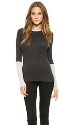 Enza Costa Cuffed Crew Neck Top Charcoal Lt Heather Grey