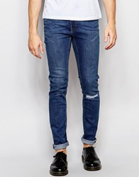 Cheap Monday Jeans Tight Stretch Skinny Fit Surreal Blue Rip Repair Knee Mid Wash Blue