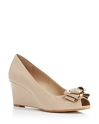 Tory Burch Stacked Bow Peep Toe Wedge Pumps Burnt Almond