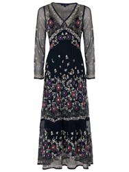 French Connection Mara Bloom Embroidered Maxi Dress Nocturnal Multi