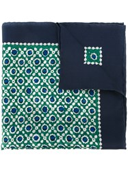 Kiton Geometric Print Pocket Square Green