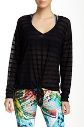 Pink Lotus Blossom Tie Front Hooded Long Sleeve Top Black