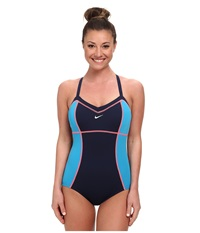 Nike Color Block Adjustable Tank Navy Women's Swimsuits One Piece