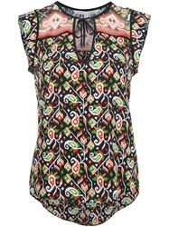 Veronica Beard Printed Sleeveless Blouse Black