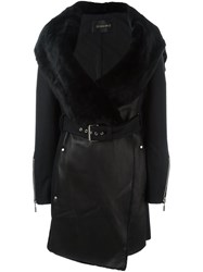 Plein Sud Jeans Leather Coat Black