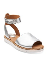 Clarks Lydie Hala Leather Open Toe Sandals Silver