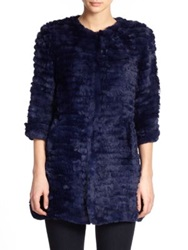 Adrienne Landau Knit Rabbit Fur Coat Navy