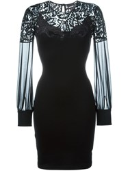 Just Cavalli Lace Panel Fitted Dress Black