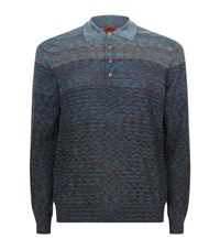 Missoni Space Dye Polo Top Male Blue