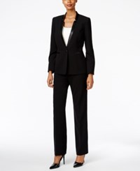 Tahari By Arthur S. Levine Asl Faux Leather Trim Pantsuit Black