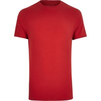 River Island Mens Red Muscle Fit T Shirt