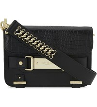 Kurt Geiger Charlie Leather Cross Body Bag Black Croc