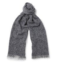 Incotex Textured Wool Blend Scarf Gray