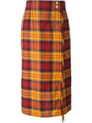 Louis Feraud Vintage Checked Blanket Culottes Yellow And Orange