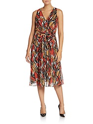 Anne Klein Abstract Belted A Line Dress Apple Cinnamon