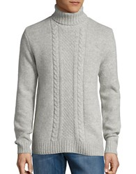 Strellson Cable Knit Turtleneck Sweater Silver