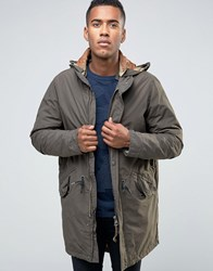Jack And Jones Vintage Fishtail Parka With Quilted Linning Removable Wire Frame Hood Khaki Green