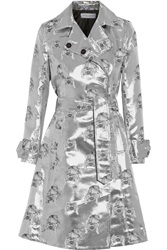 Tanya Taylor Tate Metallic Silk Blend Jacquard Trench Coat