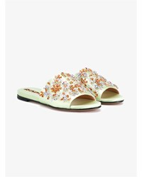 Rochas Crystal Embellished Satin Flats Multi Coloured Almond