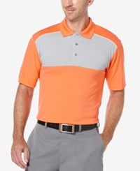 Pga Tour Men's Colorblocked Golf Polo Shirt Hot Coral
