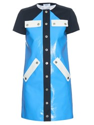 Courreges Contrast Panel Patent Leather Dress Blue Multi
