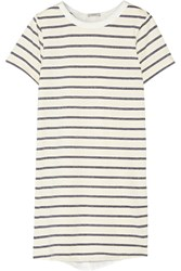Clu Washed Silk Paneled Striped Cotton Blend Mini Dress