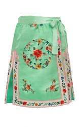 Cynthia Rowley Silk Embroidered Wrap Skirt Green