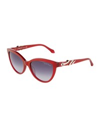 Roberto Cavalli Crystal Snake Wrapped Cat Eye Sunglasses Red