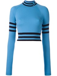Versace Cropped High Neck Sweater Blue