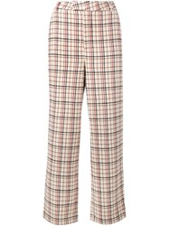 Ganni 'Duncan' Check Trousers Nude And Neutrals