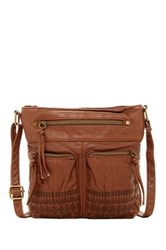 T Shirt And Jeans Embroidered Crossbody Brown