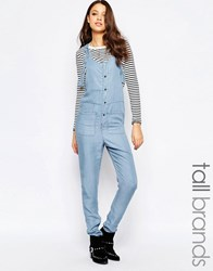 Noisy May Tall Chambray Button Through Jumpsuit Blue