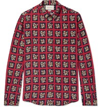 Gucci Slim Fit Floral Print Checked Silk Shirt Red