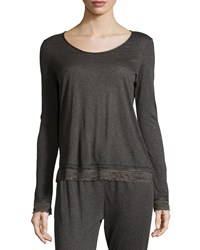 Eberjey Cece Scoop Neck Long Sleeve Lounge Tee Thunderstorm