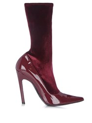 Balenciaga Boudoir Velvet And Leather Ankle Boots Burgundy