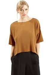 Topshop Short Sleeve Crop Shirt Tan