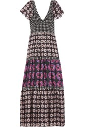 Temperley London Clarion Paneled Floral Print Silk Maxi Dress Black