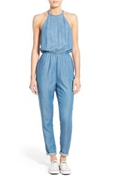 Women's Rvca 'Be About It' Halter Chambray Jumpsuit