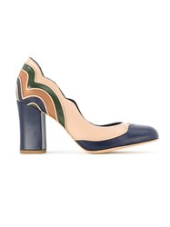 Sarah Chofakian Panel Heeled Pumps Blue