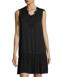 Max Studio Pleated Hem Sleeveless Lace Dress Black