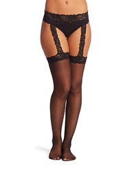 Calvin Klein Lace Garter Sheer Stockings Black