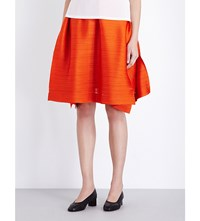 Issey Miyake Pleats Please Edgy Bounce A Line Pleated Skirt Orange