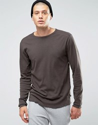Only And Sons Long Sleeve Top With Raw Edge Hem Charcoal Grey