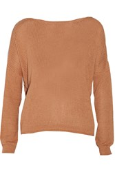 Enza Costa Cotton And Cashmere Blend Knitted Sweater Brown