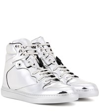 Balenciaga Metallic Leather High Top Sneakers Silver
