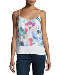 French Connection Floral Reef V Neck Tank White Multi