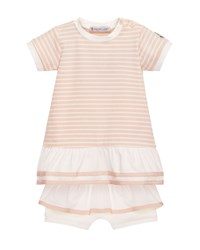 Moncler Short Sleeve Striped Tunic W Ruffle Bloomers Pink Size 6 24 Months Size 18 24 Months